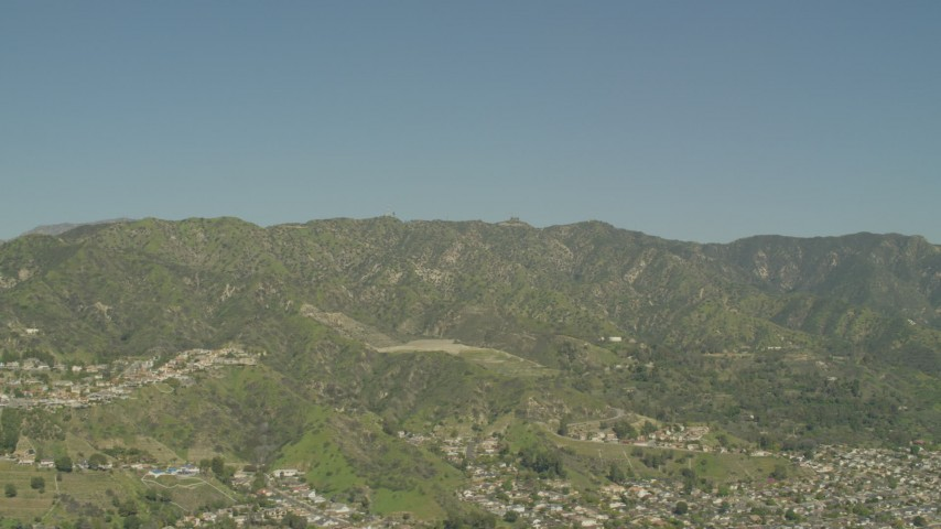 5K stock footage aerial video of suburban neighborhoods beside the Verdugo Mountains in Burbank, California Aerial Stock Footage | AF0001_000972