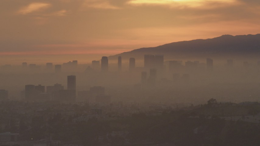 5K stock footage aerial video of a view of Century City skyscrapers at sunset, California Aerial Stock Footage | AF0001_000992