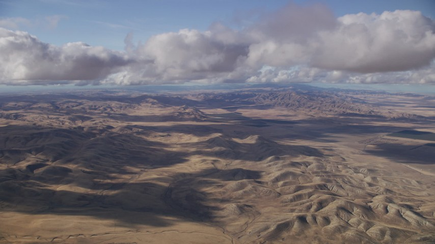 Clouds over desert hills in Southern California Aerial Stock Footage | AF0001_001019