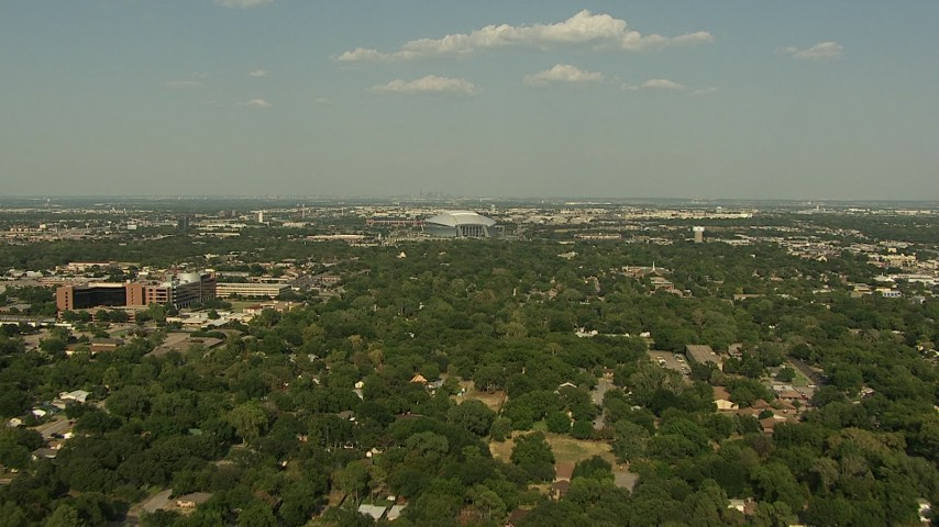 1080 stock footage aerial video flying over residential neighborhoods, approaching AT&T Stadium, Arlington, Texas Aerial Stock Footage | AI05_DAL_04