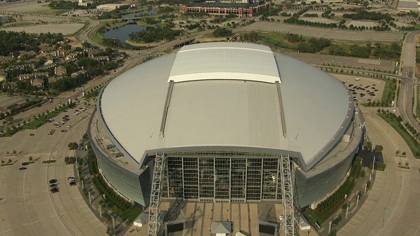 1080 stock footage aerial video AT&T Stadium, Rangers Ballpark, Six Flags Over Texas, Arlington, Texas Aerial Stock Footage | AI05_DAL_05