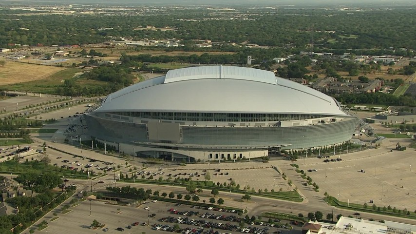 1080 stock footage aerial video orbiting the side of AT&T Stadium, Arlington, Texas Aerial Stock Footage | AI05_DAL_09