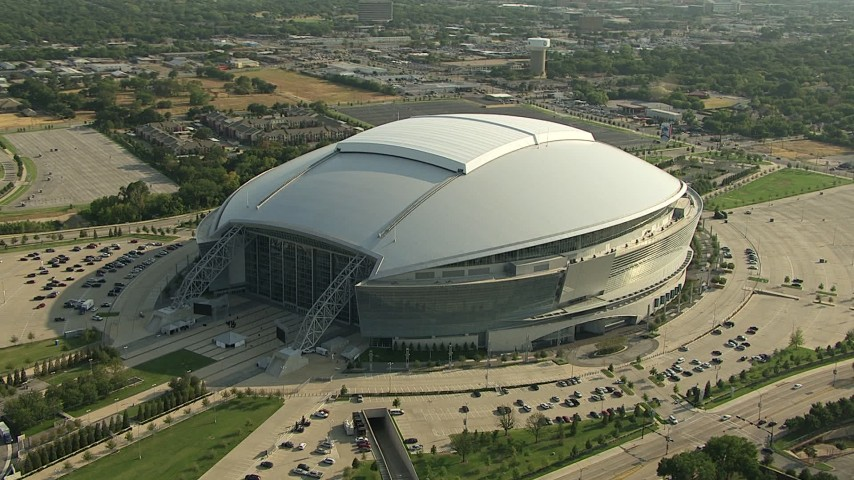 1080 stock footage aerial video orbiting AT&T Stadium, Arlington, Texas Aerial Stock Footage | AI05_DAL_16