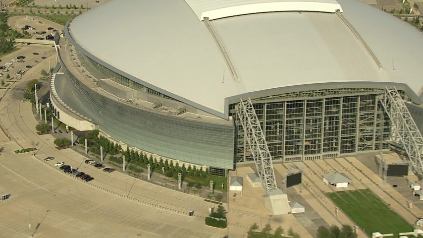 1080 stock footage aerial video revealing front of AT&T Stadium and Rangers Ballpark, Arlington, Texas Aerial Stock Footage | AI05_DAL_17