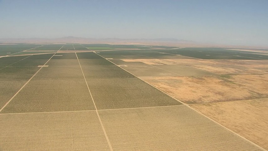 1080 stock footage aerial video flying over farmland, Central Valley, California Aerial Stock Footage   AI06_FRM_037