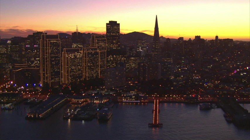 1080 stock footage aerial video of skyscrapers and piers in Downtown San Francisco, California, twilight Aerial Stock Footage | AI08_SF1_01