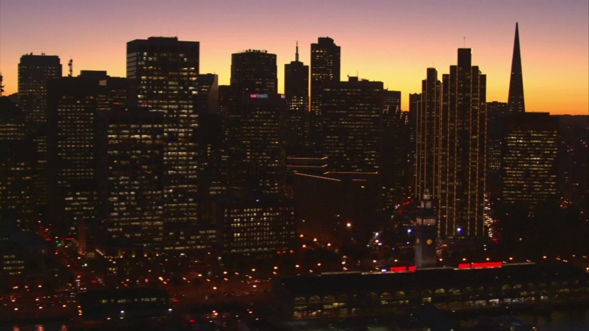 1080 stock footage aerial video of skyscrapers, Transamerica Pyramid, Coit Tower in Downtown San Francisco, California, twilight Aerial Stock Footage | AI08_SF1_04