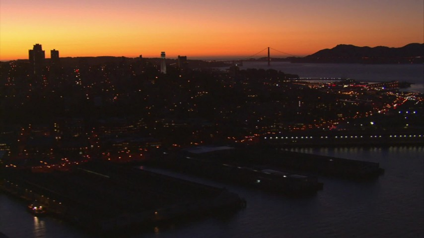 1080 stock footage aerial video flyby Coit Tower, Pier 39, Fisherman's Wharf, North Beach, San Francisco, California, twilight Aerial Stock Footage | AI08_SF1_05