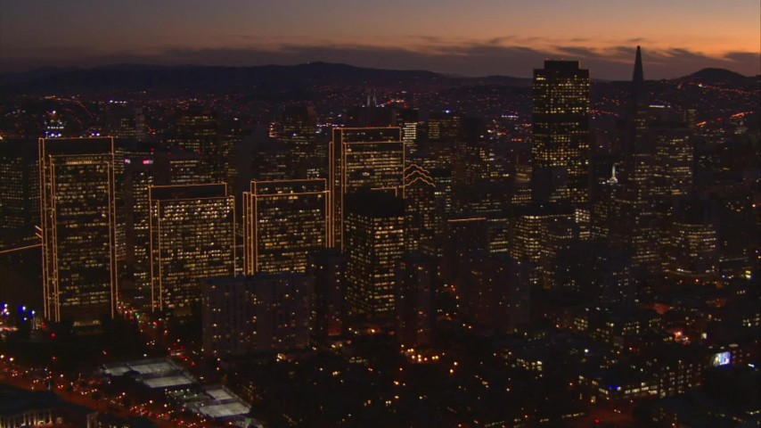 1080 stock footage aerial video of skyscrapers at twilight in Downtown San Francisco, California Aerial Stock Footage | AI08_SF1_06