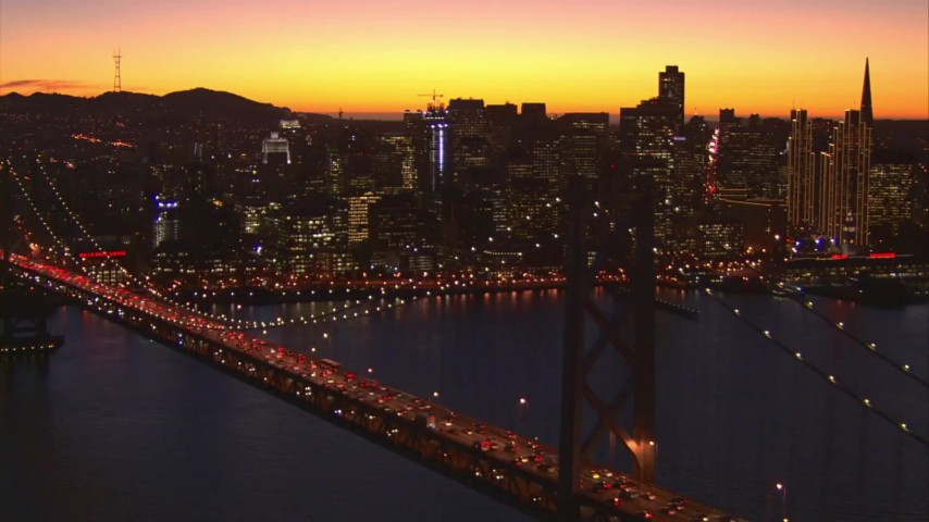 1080 stock footage aerial video fly away from downtown skyline and Bay Bridge, San Francisco, California, twilight Aerial Stock Footage | AI08_SF1_09