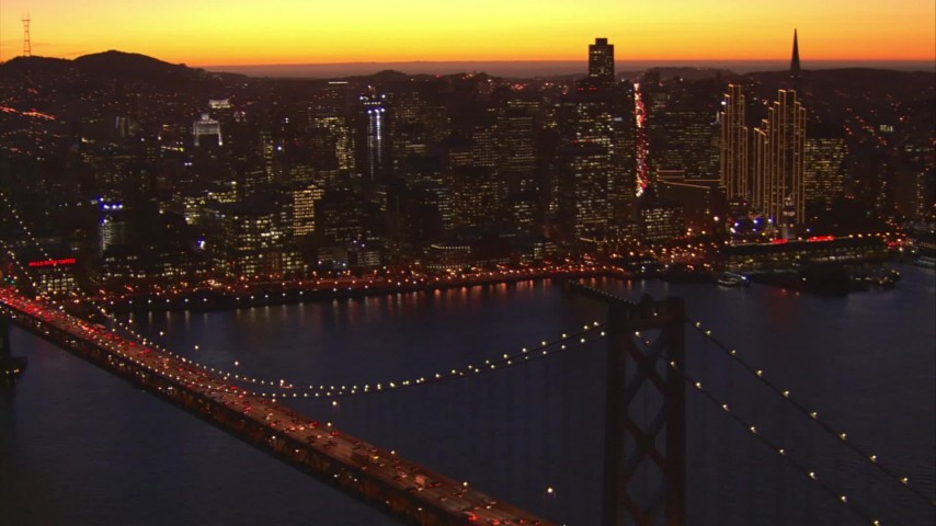 1080 stock footage aerial video flying away from skyline, reveal Bay Bridge, Downtown San Francisco, California, twilight Aerial Stock Footage | AI08_SF1_10