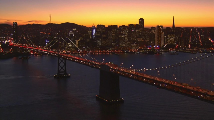 1080 aerial stock footage video reverse view of Bay Bridge and Downtown San Francisco, California, twilight Aerial Stock Footage | AI08_SF1_11