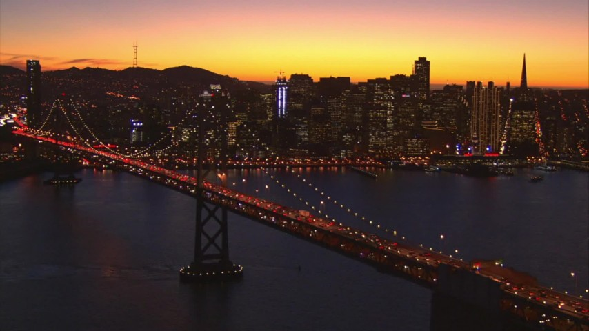 1080 stock footage aerial video flying away from downtown and the Bay Bridge, San Francisco, California, twilight Aerial Stock Footage | AI08_SF1_12