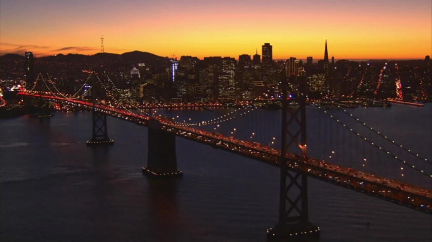 1080 stock footage aerial video downtown seen from the Bay Bridge, San Francisco, California, twilight Aerial Stock Footage | AI08_SF1_14