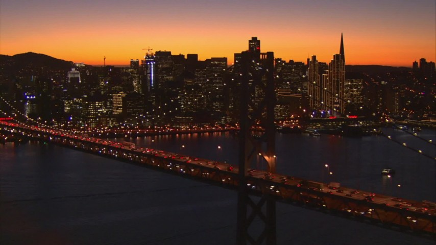 1080 stock footage aerial video of Bay Bridge and Downtown San Francisco, California, sunset Aerial Stock Footage | AI08_SF1_17