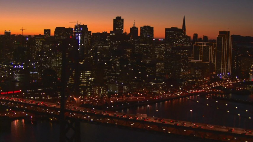 1080 stock footage aerial video of Downtown San Francisco, California at sunset seen from Bay Bridge Aerial Stock Footage | AI08_SF1_18
