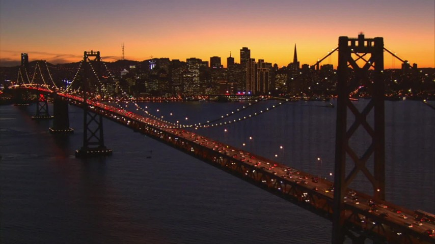 1080 stock footage aerial video approach Bay Bridge and Downtown San Francisco, California, twilight Aerial Stock Footage AI08_SF1_20 | Axiom Images
