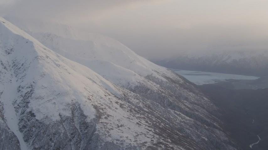 4K aerial video Chugach Mountain peaks, approaching Knik Glacier, Chugach National Forest, Alaska Aerial Stock Footage | AK0001_0019