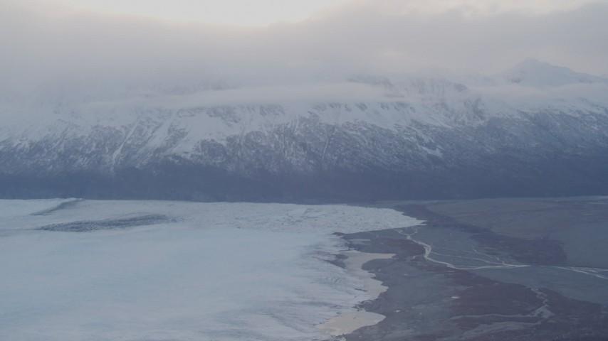 4K aerial video approaching Knik Glacier and Chugach Mountains, Knik Glacier, Alaska Aerial Stock Footage   AK0001_0024