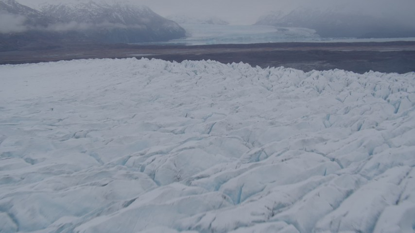 4K stock footage aerial video flying low over Knik Glacier, approach end of glacier, Knik Glacier, Alaska Aerial Stock Footage | AK0001_0034