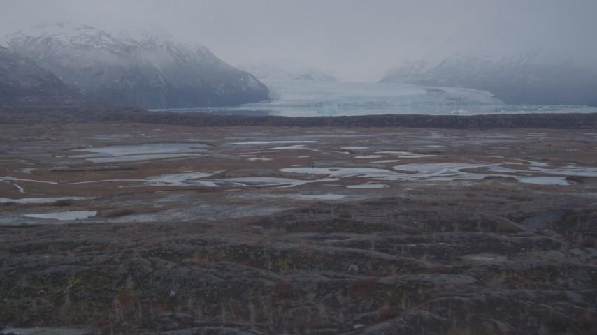 4K stock footage aerial video approaching Inner Lake George, glacier, low altitude, Inner Lake George, Alaska Aerial Stock Footage | AK0001_0036