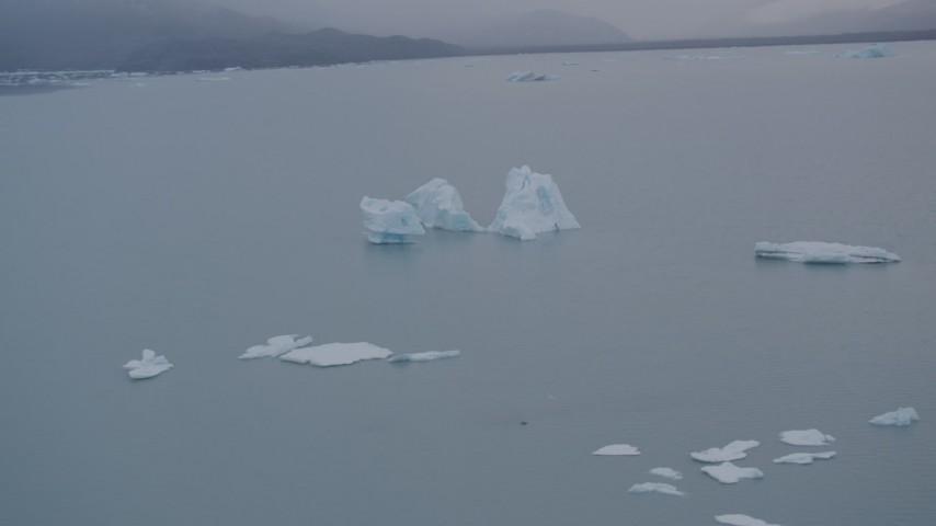 4K stock footage aerial video orbiting floating icebergs, Inner Lake George, Alaska Aerial Stock Footage | AK0001_0040