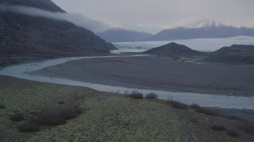 4K stock footage aerial video flying low over a river and approaching a glacier, Knik, Alaska Aerial Stock Footage | AK0001_0047