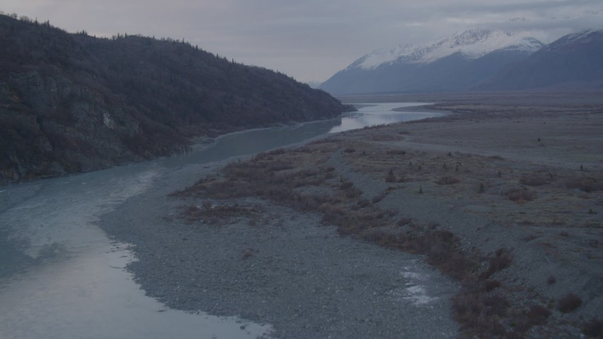4K stock footage aerial video flying low over a lake narrowing into a river, Knik, Alaska Aerial Stock Footage | AK0001_0057