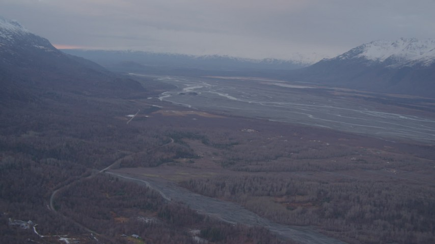 4K stock footage aerial video flying by rivers through valley, Chugach Mountains, Knik River Valley, Alaska Aerial Stock Footage | AK0001_0067