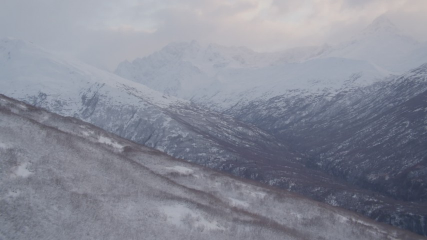 4K stock footage aerial video fly over ridge, reveal Chugach Mountains, valleys, Chugach National Forest, Alaska Aerial Stock Footage | AK0001_0068