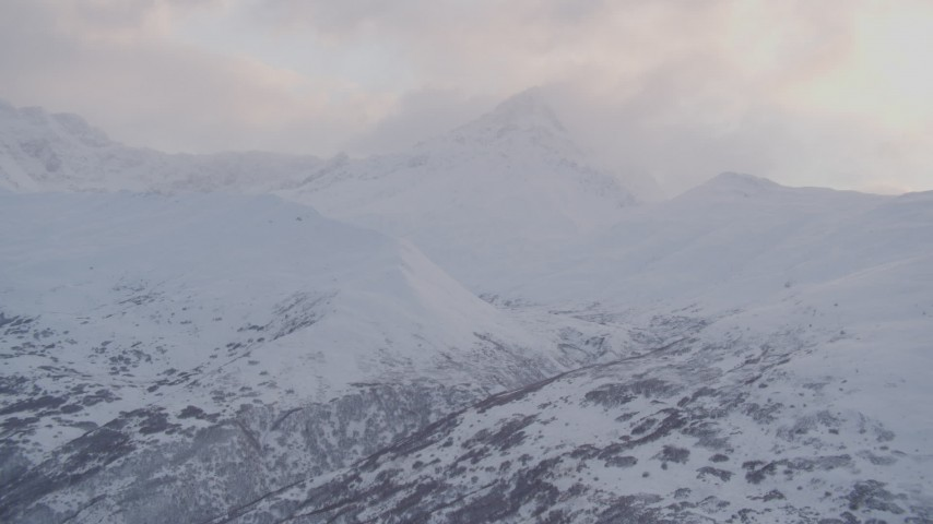 4K stock footage aerial video approach cloud covered peak, Chugach Mountains, Chugach National Forest, Alaska Aerial Stock Footage | AK0001_0069
