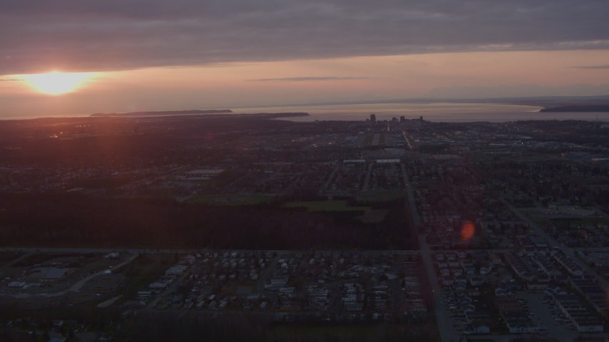 4K stock footage aerial video approaching Downtown Anchorage, Alaska, sunset Aerial Stock Footage | AK0001_0102