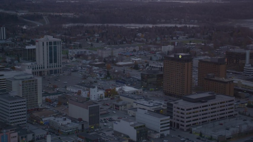 4K aerial video flyby hotels, Downtown Anchorage, Alaska, twilight Aerial Stock Footage | AK0001_0106