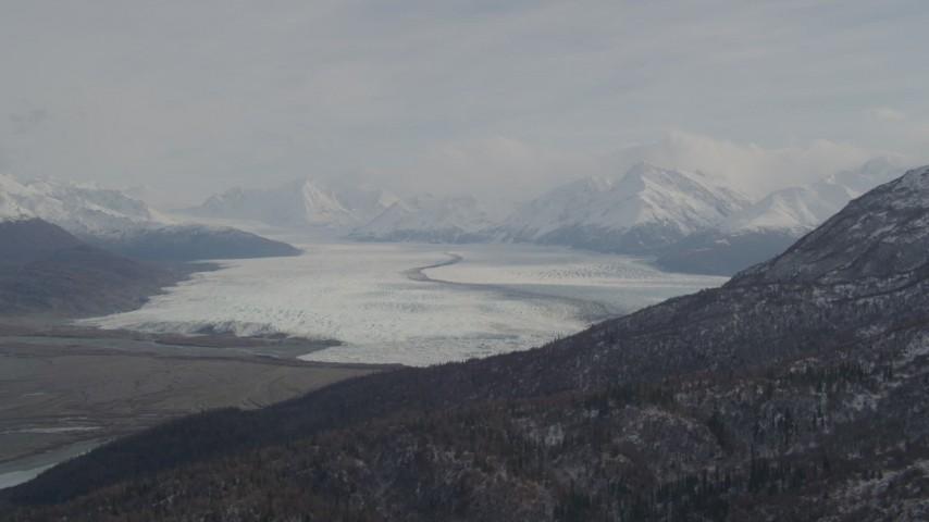4K stock footage aerial video Knik Glacier, bordered by Chugach Mountains, Knik Glacier, Alaska Aerial Stock Footage | AK0001_0111