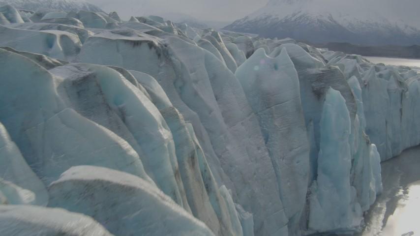 4K stock footage aerial video flying over Knik River, approaching edge of Knik Glacier, Alaska Aerial Stock Footage | AK0001_0124