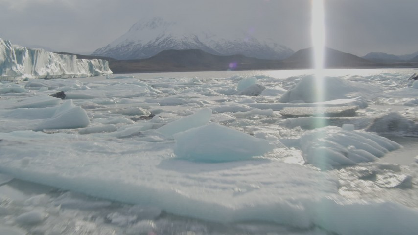 4K stock footage aerial video flying low over Knik River, approaching the edge of the Knik Glacier, Alaska Aerial Stock Footage | AK0001_0128