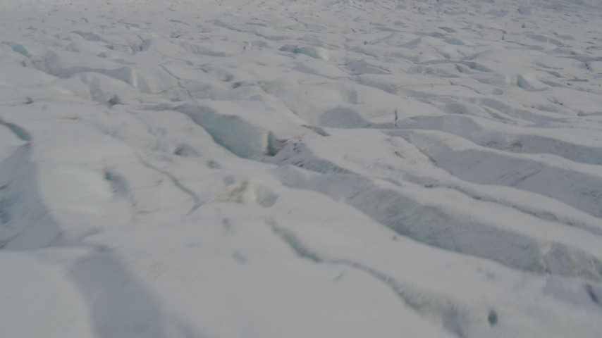 4K stock footage aerial video flying low over the surface of the Knik Glacier, Alaska Aerial Stock Footage | AK0001_0138