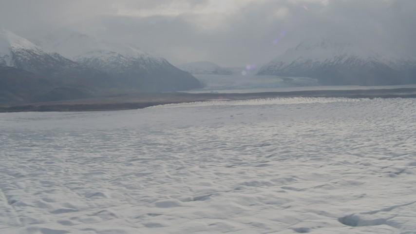 4K stock footage aerial video Knik Glacier, Inner Lake George, Chugach Mountains, Knik Glacier, Alaska Aerial Stock Footage | AK0001_0143
