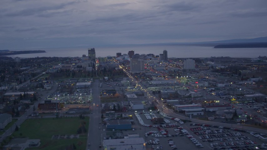 4K stock footage aerial video flying by downtown skyline, Downtown Anchorage, Alaska, night Aerial Stock Footage | AK0001_0153