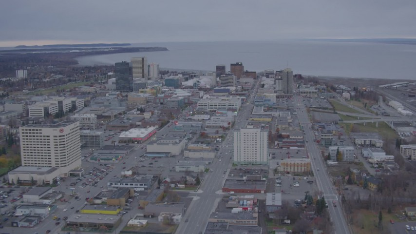 4K stock footage aerial video approach Downtown, from East 6th Street to East Loop Bridge, Anchorage, Alaska Aerial Stock Footage | AK0001_0159