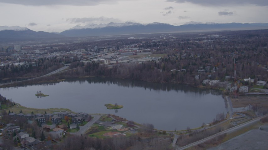 4K stock footage aerial video flying over Westchester Lagoon, Anchorage, Alaska Aerial Stock Footage | AK0001_0160