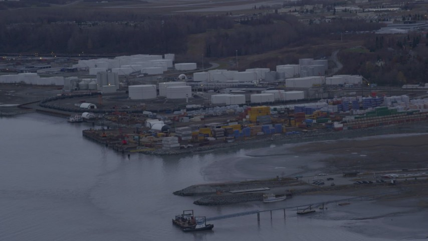 4K stock footage aerial video flying by an oil refinery, shore of the Knik Arm of Cook Inlet, Anchorage, Alaska Aerial Stock Footage | AK0001_0165