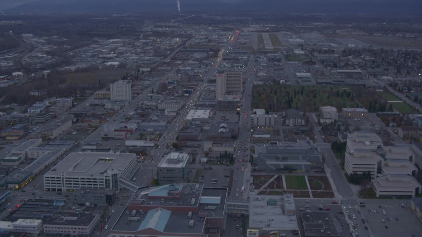 4K stock footage aerial video Alaska Center for the Performing Arts, Merrill Field, Downtown Anchorage, Alaska Aerial Stock Footage | AK0001_0174