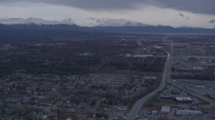4K stock footage aerial video Flying by neighborhoods, Chugach Mountains, Anchorage, Alaska Aerial Stock Footage | AK0001_0175