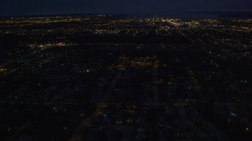 4K stock footage aerial video approaching downtown buildings, Anchorage, Alaska, night Aerial Stock Footage | AK0001_0195