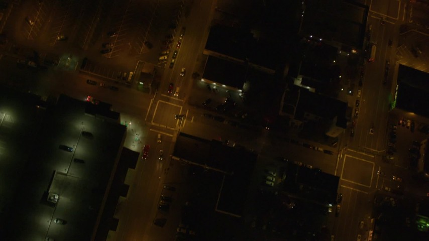 4K stock footage aerial video Alaska Center for the Performing Arts, Knik Arm of the Cook Inlet, Downtown Anchorage, Alaska, night Aerial Stock Footage   AK0001_0209