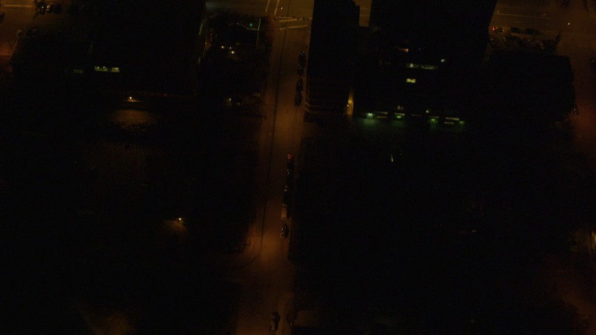 4K stock footage aerial video of a bird's eye view of city streets in Downtown Anchorage, Alaska, night Aerial Stock Footage | AK0001_0210