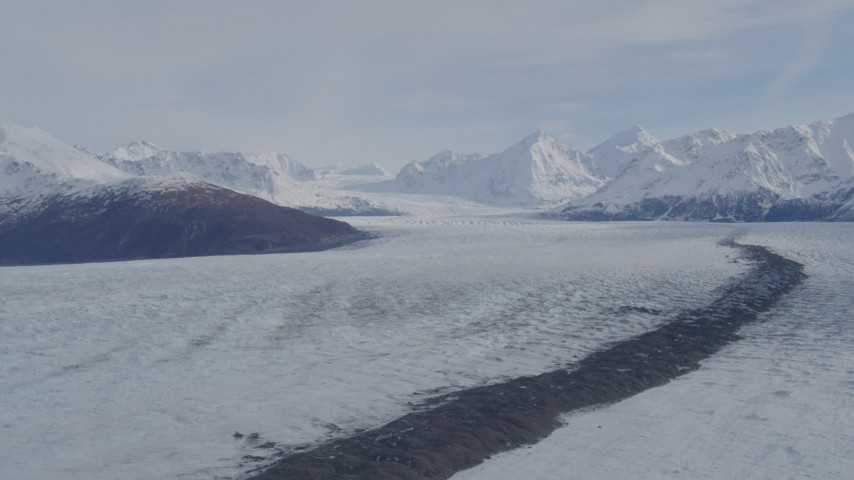 4K stock footage aerial video flying over Knik Glacier, tilt down, Knik Glacier, Alaska Aerial Stock Footage | AK0001_0212