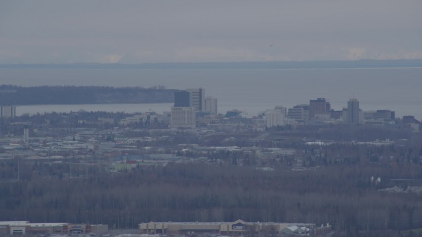 4K stock footage aerial video flying by Downtown, Anchorage, Alaska Aerial Stock Footage | AK0001_0240