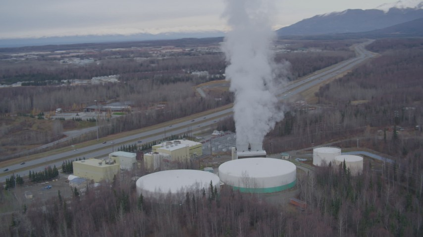 4K stock footage aerial video a power plant, Anchorage, Alaska Aerial Stock Footage | AK0001_0246
